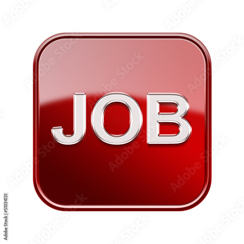 Job icon glossy red, isolated on white background
