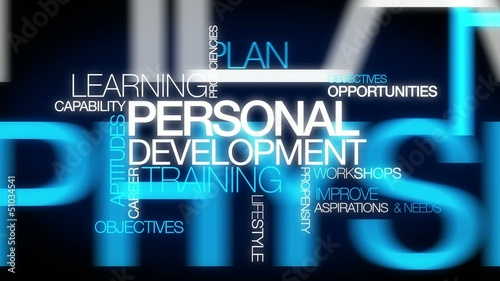 Personal development training plan word tag cloud animation