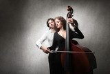 couple playing contrabass