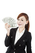 happy businesswoman with money