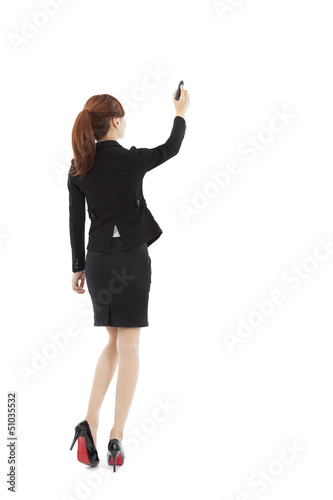 businesswoman drawing on the white background