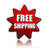 free shipping in red star banner