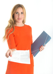 Business woman handing a document