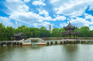 Classical garden in Suzhou (China) in summer