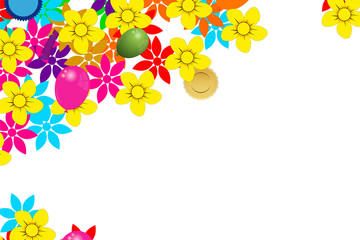 card with flowers and balloons