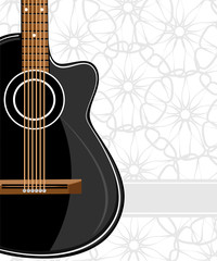 Black classic guitar on floral background
