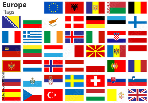 Europe Flags, Europa Fahnen Flaggenset