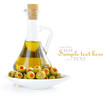 Green olives stuffed with pimento with bottle of olive oil