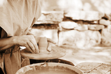 Making pottery (sepia toning)