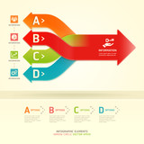 Colorful modern arrow circle options banner.