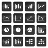 Icons of various charts and diagrams with black buttons