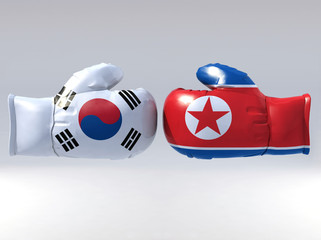 Boxing gloves with Korean flag