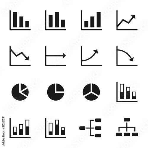 Black icons of various charts and diagrams with white background