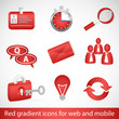 Red gradient icons for web applications and mobile devices