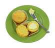 Corn Muffins Split Whole Butter Knife