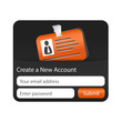 Create a new account form with orange ID card.