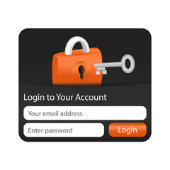 Login to your account form for websites and applications