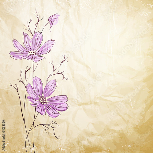 Blue flower over brown background