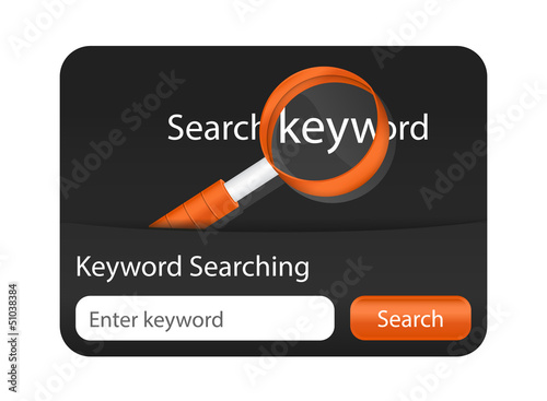 Keyword searching website element with magnifying glass