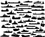 Set of 45 silhouettes of sea towboat, battleship and ships