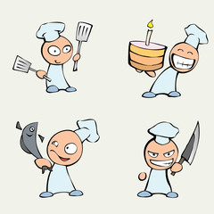 Collection of cute chef men