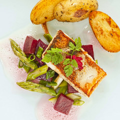 pikeperch fillet with asparagus beets ragout and potatoes