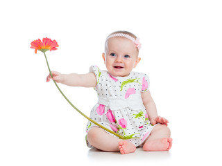 beautiful girl with flower gift, isolated on white