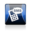 sms blue square web glossy icon