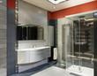 Bagno lussuoso, grigio e arancione con doccia grande