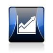 histogram blue square web glossy icon