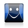 smile blue square web glossy icon