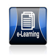 e-learning blue square web glossy icon
