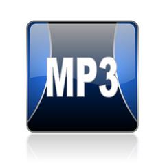 mp3 blue square web glossy icon