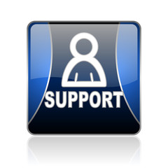 support blue square web glossy icon
