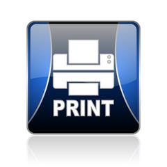 print blue square web glossy icon