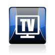 tv blue square web glossy icon
