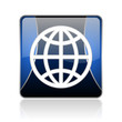 earth blue square web glossy icon