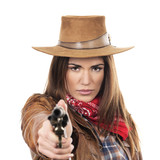 beautiful cowgirl with gun