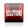 solutions red square web glossy icon