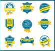 Blue and yellow marketing labels (set of 9)