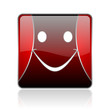smile red square web glossy icon