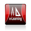 e-learning red square web glossy icon