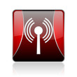 wifi red square web glossy icon