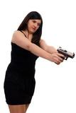 woman with handgun
