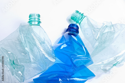 empty plastic water bottle isolated on white background  - 51043790