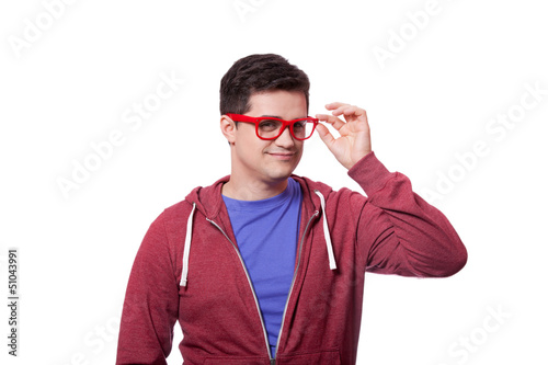 Smiling male hipster student at white background