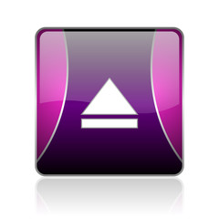 eject violet square web glossy icon