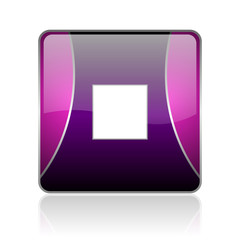 stop violet square web glossy icon