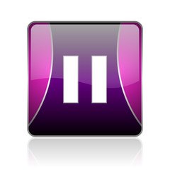 pause violet square web glossy icon