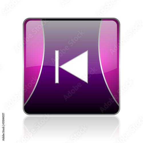 prev violet square web glossy icon